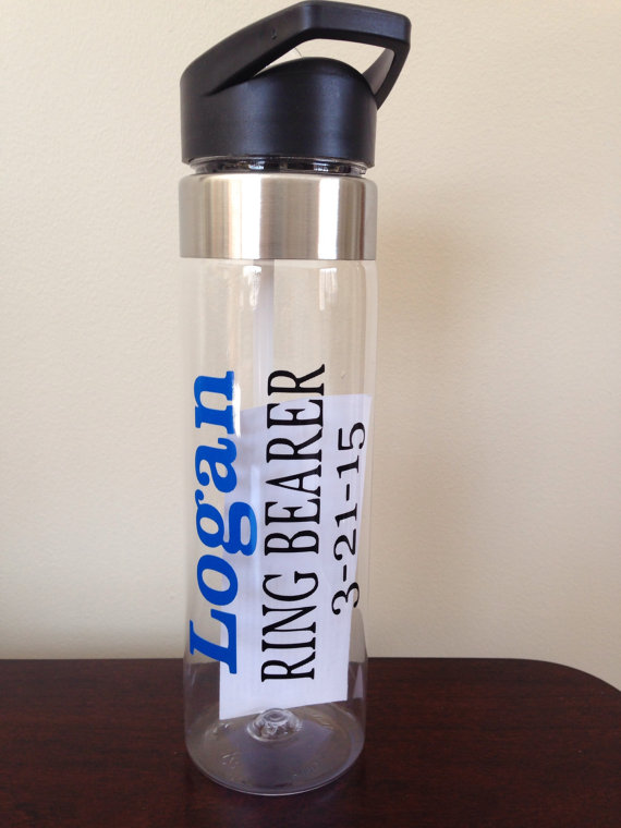 Mariage - Personalized Water Bottle for Ring Bearer with Date
