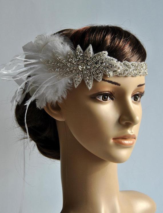Mariage - 1920's rhinestone flapper headband, Bridal Head Piece, 1920's Flapper, Great Gatsby, rhinestones Crystal ribbon Headband, wedding Headband