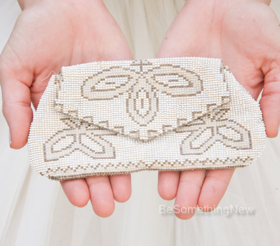 8df296e4109a Small Vintage Beaded Wedding Clutch Purse Ivory Gold and Bronze Beaded Purse  Accessory Wedding Purse Beaded Clutch