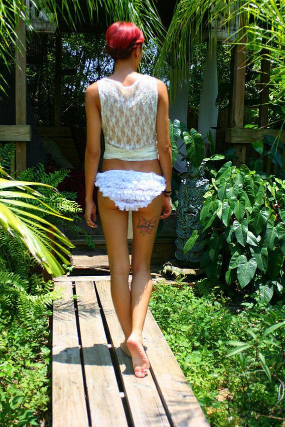 Свадьба - Bridal Lingerie Lace Two Piece Ruffle Panty Honeymoon Set Wrap Lace Top Wedding Shower Sleepwear Loungewear