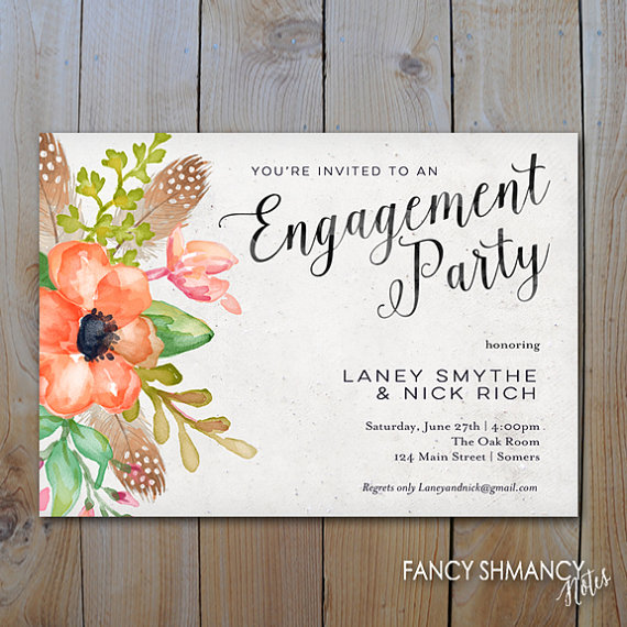 Mariage - Engagement Party Invitation / Coral Feather and Floral Script Invitation / PRINTABLE INVITATION / #1058