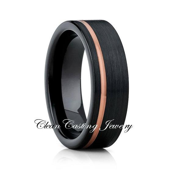 Mariage - Black Tungsten Wedding Band,Rose Gold Tungsten Ring,Black Tungsten Wedding Ring,Engagement Band,18k Rose Gold,Anniversary Ring,Brushed,Set
