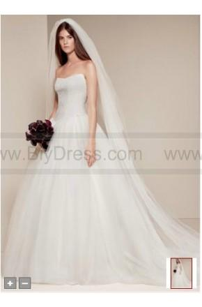 Boda - White By Vera Wang Ball Gown With Chantilly Lace Appliques At Bodice Style VW351135