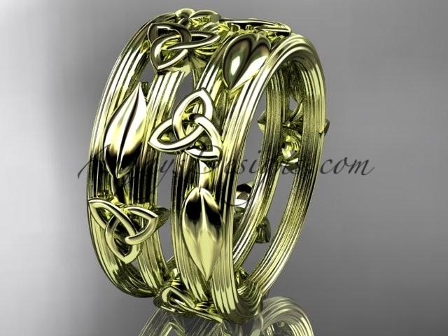 Wedding - 14kt yellow gold diamond celtic trinity knot wedding band, engagement ring CT7242B