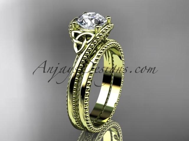 Wedding - 14kt yellow gold diamond celtic trinity knot wedding ring, engagement set CT7322S