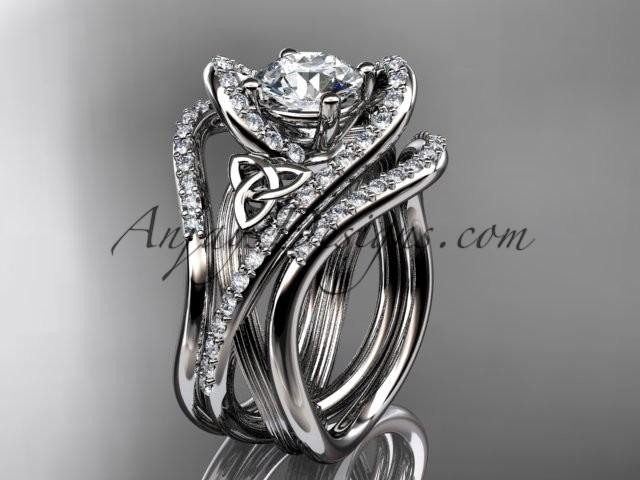 14kt white gold diamond celtic trinity knot wedding ring engagement ring with double matching band ct7369s - Double Band Wedding Ring