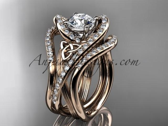 14kt Rose Gold Diamond Celtic Trinity Knot Wedding Ring Engagement