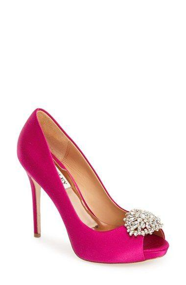 "زفاف - Women's Badgley Mischka 'Jeannie' Crystal Trim Open Toe Pump, 4 1/4"" Heel"