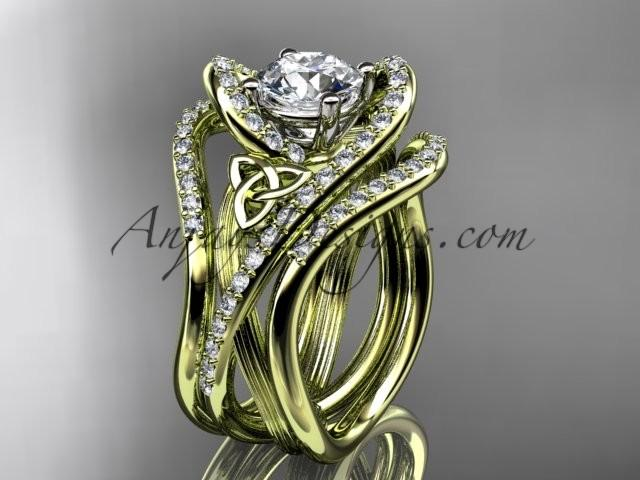 Wedding - 14kt yellow gold diamond celtic trinity knot wedding ring, engagement ring with double matching band CT7369S
