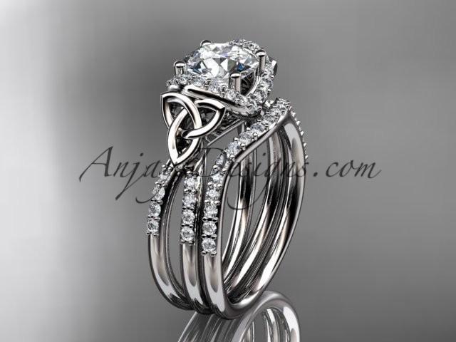 زفاف - platinum diamond celtic trinity knot wedding ring, engagement set CT7155S