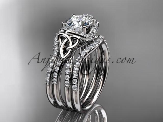 Spring 14kt White Gold Diamond Celtic Trinity Knot Wedding Ring