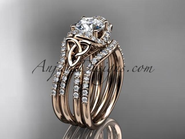 زفاف - 14kt rose gold diamond celtic trinity knot wedding ring, engagement ring with a double matching band CT7155S