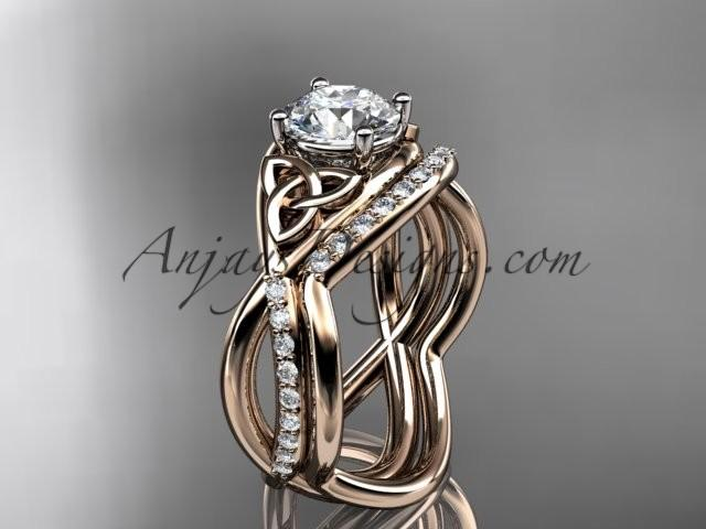 زفاف - Spring Collection, Unique Diamond Engagement Rings,Engagement Sets,Birthstone Rings - 14kt rose gold celtic trinity knot engagement ring wedding ring