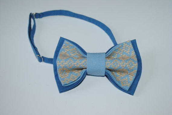 Свадьба - Embroidered bow tie Blue Light sky blue pretied bow tie Groomsmen bow ties Men's bowtie Bow tie Gifts for dad Casual style Boys Bowtie