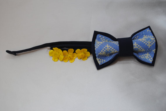 Свадьба - Embroidered navy blue bow tie Well to coordinate with stuff in Denim Admiral Berry Aegean Spruce Stone Fall wedding Wedding in navy blue
