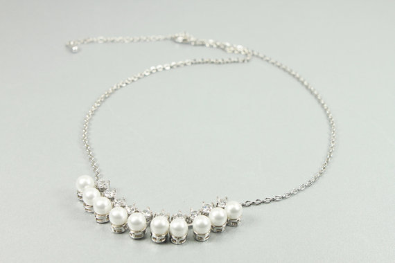 Mariage - Silver Framed White Pearl and tiny Rhinestone Necklace . Wedding Jewelry , Bridal Necklace , Bridesmaid Necklace .