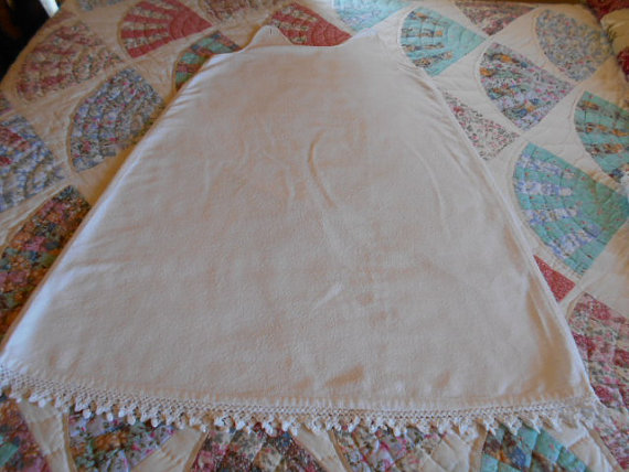 Свадьба - Vintage childs slip undergarment hand sewn white heavy flannel hand crochet lace at bottom beautifully sewn buttons at top