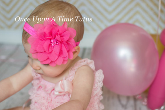Mariage - Hot Pink Flower Puff Headband - Newborn Baby Hairbow - Little Girls Hair Bow - Little Girls Classic Color Birthday Party Accessory
