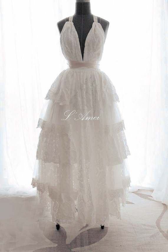 Свадьба - Bespoke Made to Order Sexy deep V Neck lace Wedding Dress with open Back  and Multilayer Lace Skirt