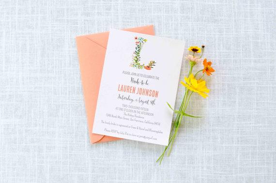 e6111a17de2e Floral Monogram Shower Invitation   Bridal Shower Invite   Birthday Party    Baby Shower
