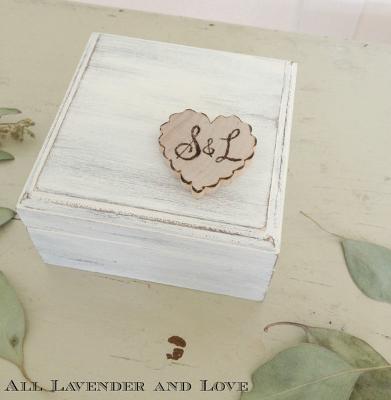 Mariage - Personalized Ring Bearer Box with Ring Pillow Rustic White