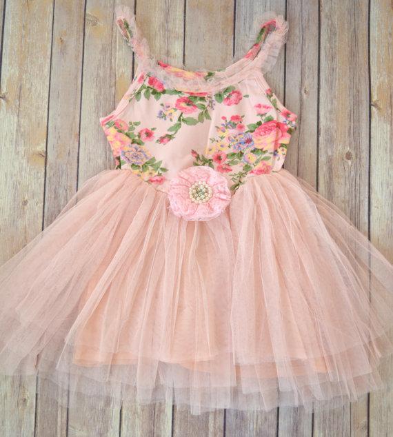 Свадьба - Shabby Pink Rose Tutu dress, pink tutu dress, pink floral dress, Flower girl dress, Ballerina party dress, Pink tulle dress