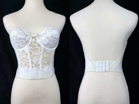 1bb1fd71844ff 1980s Valmont White Lace Bustier Strapless Long Line Bra Underwire Backless  Demi Cup 34B
