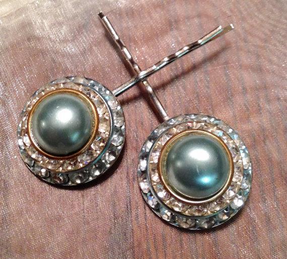 Mariage - Decorative Lisner Seafoam Mint Green Rhinestone Hairpin Bobby Pin (1)