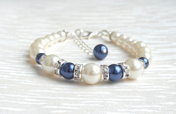 Bridesmaids Gifts Bracelet Dark Blue Ivory Jewelry Bridesmaid Wedding Beaded