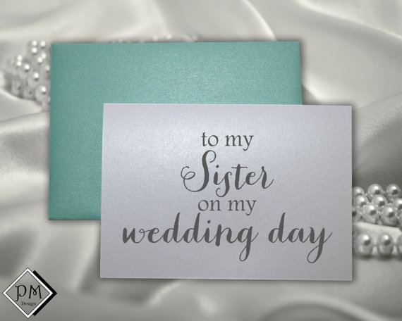 Mariage - Sister wedding thank you card for sister of the bride sister of the groom wedding card sets matron of honor with matching shimmer envelope