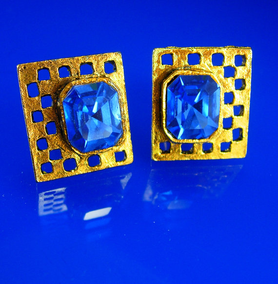 Wedding - Vintage Blue Rhinestone Cufflinks gold wedding groom gift mens estate jewelry gold glass Gentleman Tuxedo