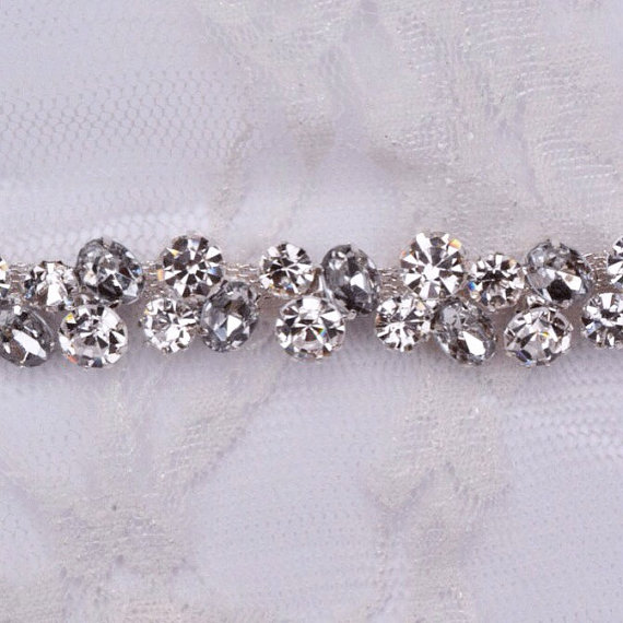 Свадьба - Thin Crystal Rhinestone Belt with Clasp-  Clear and Gray Rhinestones- Silver Setting - EYM B001