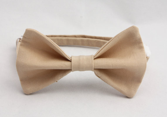 Mariage - Khaki Light Brown Clip on Bow Tie - Infant, Toddler, Boys