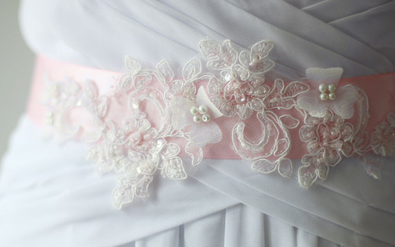 Mariage - soft  Pink Flower Wedding Sash Bridal Belt Accented with Hand Beaded Bling ,Pearls and organza flowers