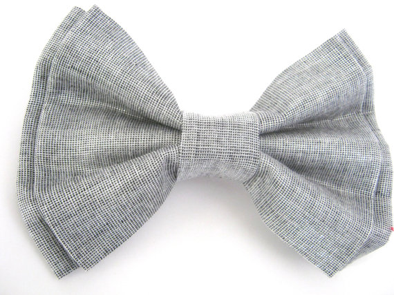 Mariage - Dog Bow Tie / Silver Removable Dog Collar Bowtie