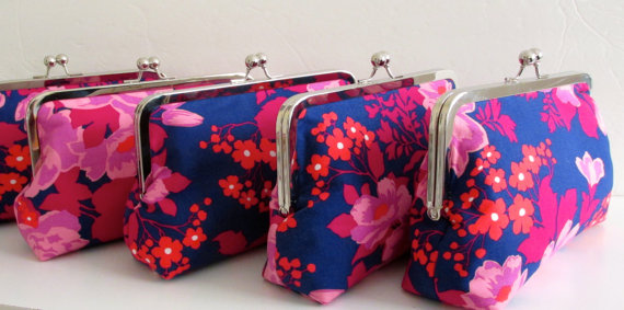 زفاف - Set of Five (5),  Bridesmaid Clutch, Spring Wedding Accessory, Custom Clutch Set, Wedding Party Purse