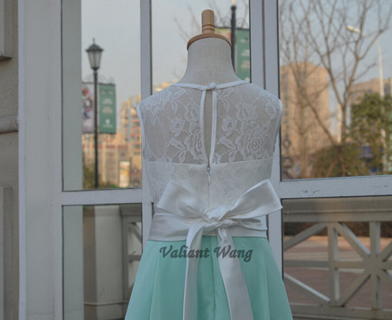 Свадьба - Ivory Lace Mint Chiffon Flower Girl Dress Knee Length Dress Keyhole With Sash