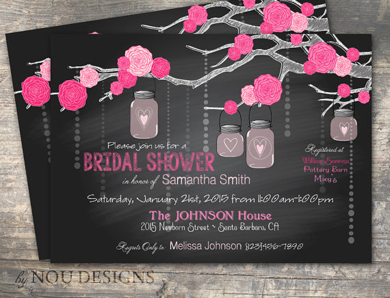 Mariage - Roses on Branch with Hanging Mason Jars Chalkboard Bridal Shower or Wedding Invitation Card- Printable File