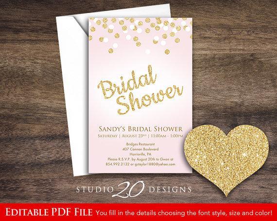 instant download 4x6 pink glitter bridal shower invitations editable