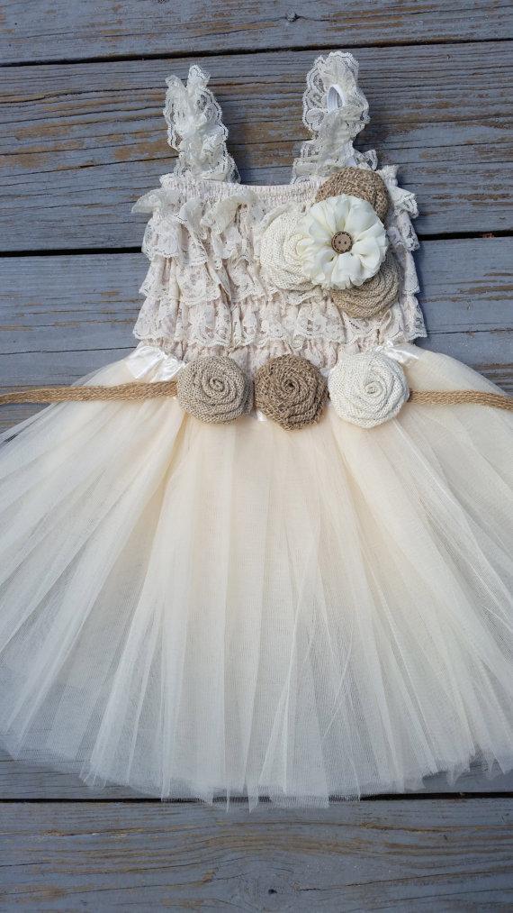 Свадьба - Rustic Flower Girl Dress -Cream/Ivory Tutu/Rustic Flower Girl/Country Flower Girl Dress -Lace Romper-Country Wedding-Vintage Wedding-Romper