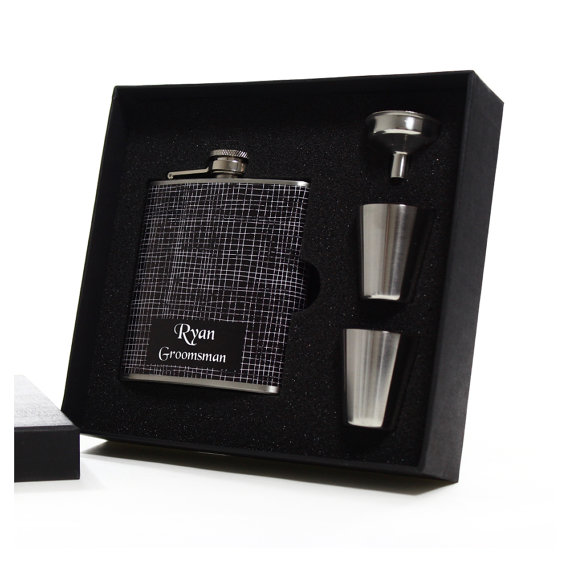 Свадьба - 5, Groomsmen Gift Flask Box Sets with Shot Glasses, Funnels and Gift Boxes