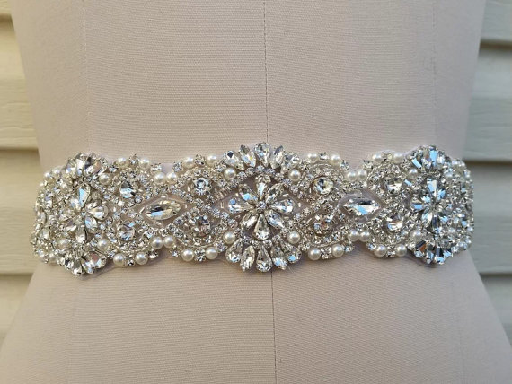 زفاف - Rhinestones and pearls sash, bridal sash, wedding dress sash