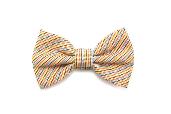Свадьба - Mini Dot Striped Dog Bow Tie Yellow Cat Bow Tie Spring Wedding Preppy Dog Bowtie - Harley