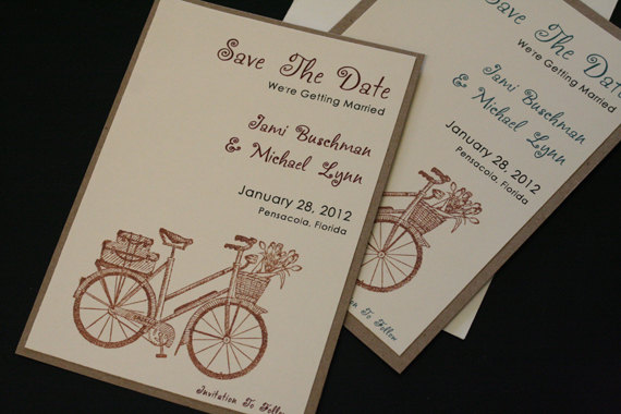 Mariage - Save The Date, Country, Rustic Wedding, Bicycle, Vintage, Unique, Kraft Cardstock, Tying The Knot, Christian, Shabby Chic