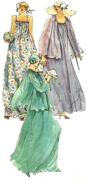 Свадьба - Vogue 1590 Vintage 1970s Sewing Pattern Paris Original Yves Saint Laurent Wedding Bridal Dress Gown Coat Veil Loose Fitting Pullover Bias