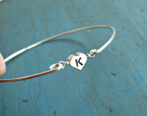 Mariage - Personalized Initial Bracelet Bridesmaid Jewelry Sterling Silver BangleFlower girl Gift Personalized gifts