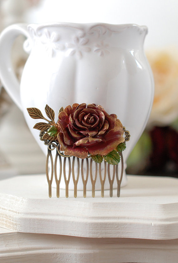 Mariage - Fall Rose Hair Comb, Gold Dark Red Burgundy Rose, Leaf Branch, Rustic Vintage, Fall Wedding Flower Comb, Autumn Bridal Hair Accessory