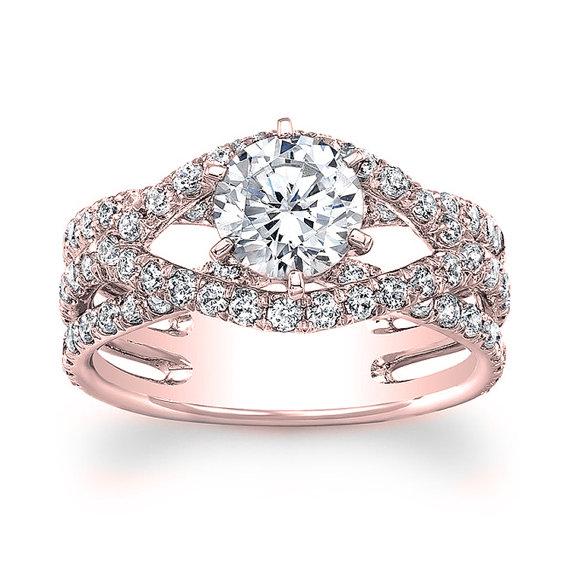 زفاف - 14kt rose gold diamond engagement ring 1.70 ctw G-SI2 quality diamonds and a .70 natural filled Round center diamond