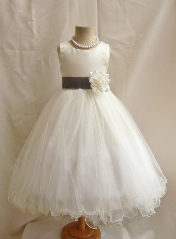 Wedding - Flower Girl Dresses - IVORY with Gray Dark (FD0FL) - Wedding Easter Junior Bridesmaid - For Children Toddler Kids Teen Girls