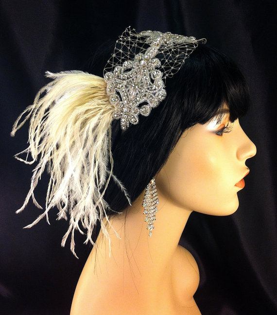 Hochzeit - Wedding Headband, Wedding Hair Accessory , Bridal Hair Accessory, Rhinestone Headband, Hollywood Royalty, Champagne